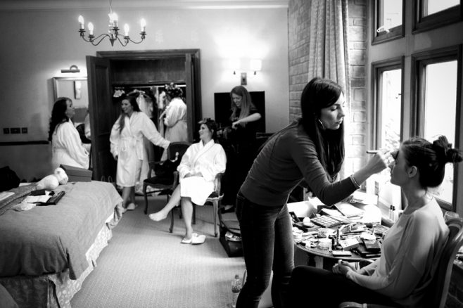bridal party getting ready in south lodge horsham