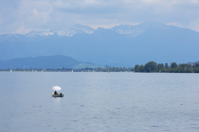 Small boat on water at Lake Zurich