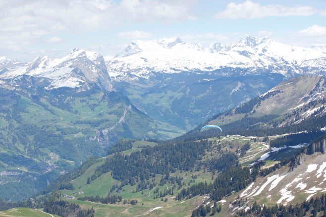Paragliders at top of Stoos