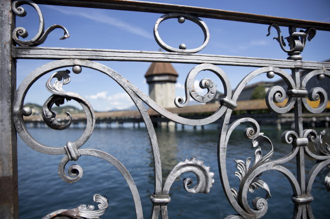 Lake Lucerne metal bridge